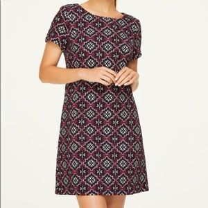 LOFT Purple and White Floral Pattern Shift Dress